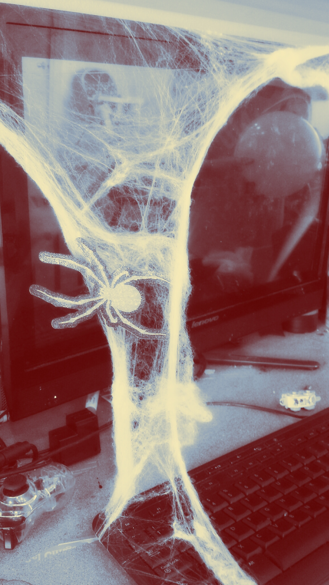 We spread fake spider webs around the house and added paper spiders.  Photo edited with Pixlr.
